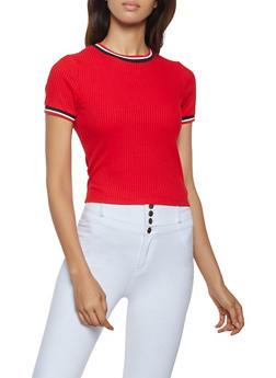 Striped Trim Rib Knit Tee - 3402069390502