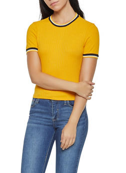 Striped Trim Rib Knit Tee - 3402069390502