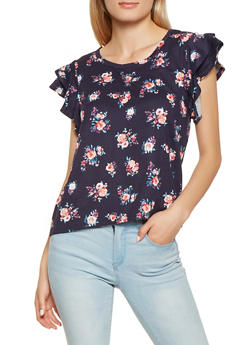 Floral Tiered Sleeve Top - 3402069390825