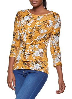 Floral Print Tie Front Top - 3402069390830