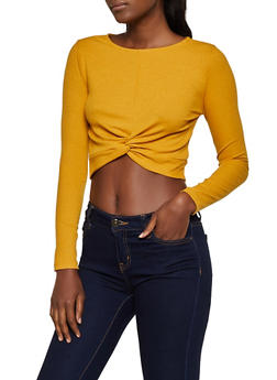Twist Front Ribbed Knit Top - 3402069391030