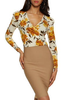 Ruched Shoulder Floral Faux Wrap Top - 3402069391040