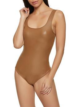 Coated Sleeveless Thong Bodysuit - 3402069391059