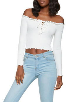 Lace Up Off the Shoulder Crop Top - 3402069391095