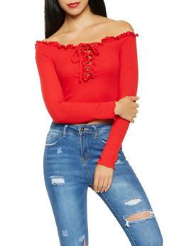 Lace Up Off the Shoulder Crop Top - 3402069391095