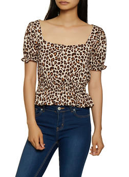 Leopard Print Bubble Sleeve Ruffle Top - 3402069391130