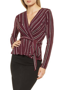 Striped Faux Wrap Top - 3402069391263