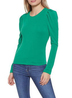 Long Sleeve Shirred Shoulder Top - 3402069391275