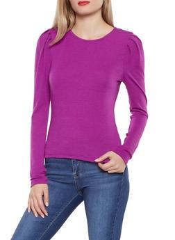 Long Sleeve Shirred Shoulder Top - 3402069391275