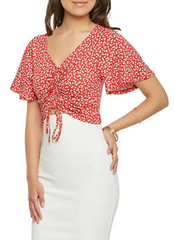 Floral Drawstring Front Crop Top - 3402069391578