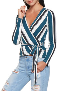 Striped Wrap Top - 3402069391911