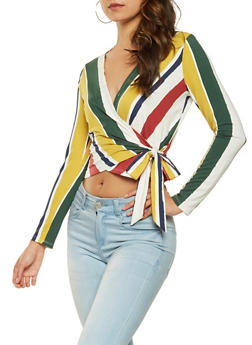 Striped Wrap Top - 3402069391912