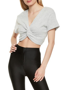 Cropped Twist Front Sweater - 3402069392014