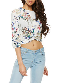 Twist Front Floral Crop Top - 3402069392020