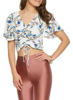 Floral Soft Knit Drawstring Crop Top - 3402069392071