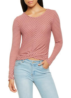 Striped Ribbed Knit Top - 3402069392369