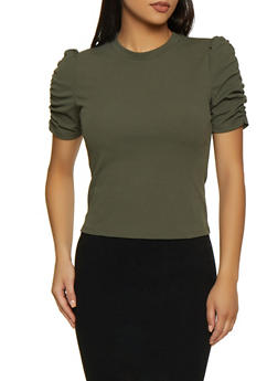 Ruched Sleeve Crepe Knit Top - 3402069392825