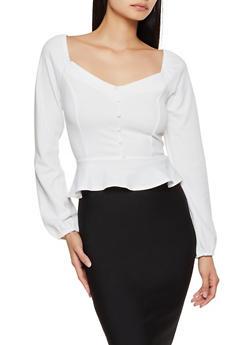 Crepe Knit Button Peplum Top - 3402069393011
