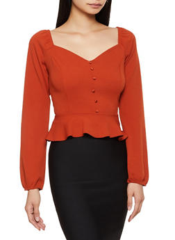 Crepe Knit Button Peplum Top - 3402069393011