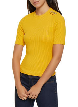 Button Shoulder Ribbed Top - 3402069393531