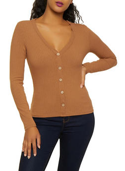 Ribbed Knit Button Top - 3402069393678