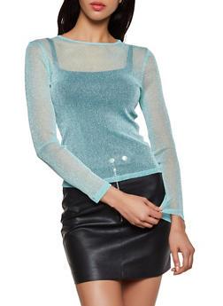 Lurex Mesh Long Sleeve Top - 3402069393887