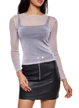 Lurex Mesh Long Sleeve Top - 3402069393887