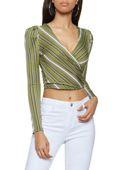 Striped Faux Wrap Crop Top - 3402069394094