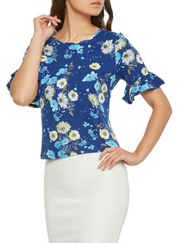 Floral Ruffle Sleeve Top - 3402069394168