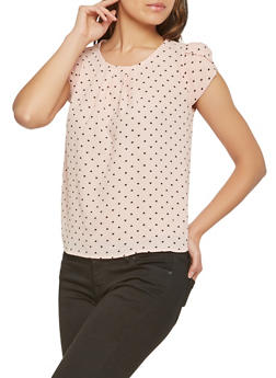 Heart Print Tulip Sleeve Top - 3402069395096