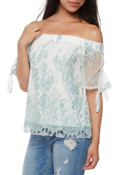 Off the Shoulder Lace Tie Sleeve Top - 3402069395126