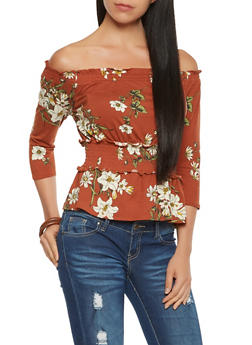 Floral Off the Shoulder Smocked Waist Top - 3402069395225