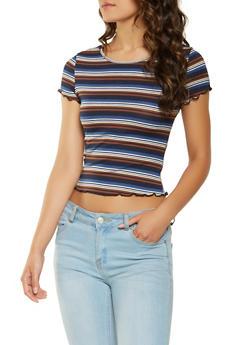 Striped Rib Knit Tee - 3402069395251
