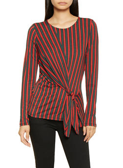 Striped Tie Front Top - 3402069395254