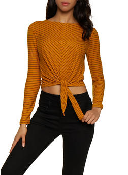 Striped Tie Front Top - 3402069395266