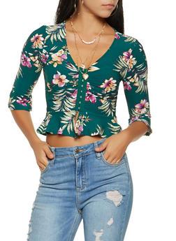 Floral Bell Sleeve Peplum Top - 3402069395301