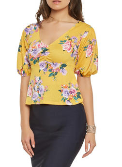 Floral Ruched Textured Knit Top - 3402069397820