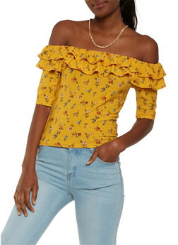 Floral Tiered Ruffle Off the Shoulder Top - 3402069398166