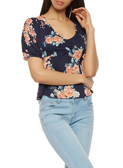 Floral Ruched Textured Knit Top - 3402069398820
