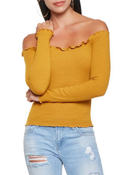 Rib Knit Off the Shoulder Top - 3402069398830