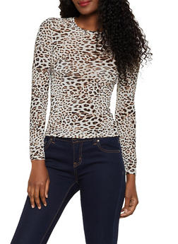 Long Sleeve Cheetah Mesh Top - 3402069399019
