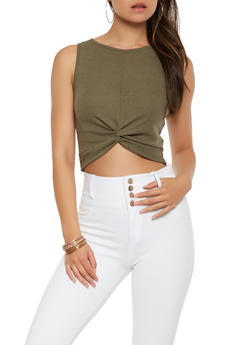 Ribbed Knit Twist Front Crop Top - 3402069399054
