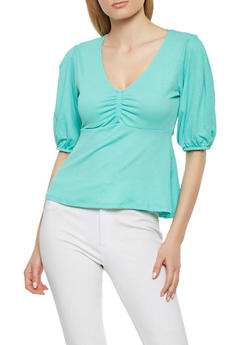 Textured Knit Ruched Front Top - 3402069399820