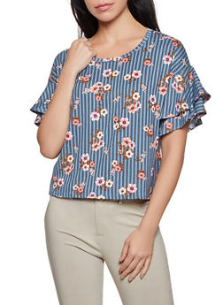 Striped Floral Tiered Sleeve Top - 3402069399828