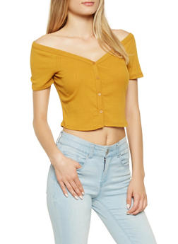 Button Front Crop Top - 3402069399914