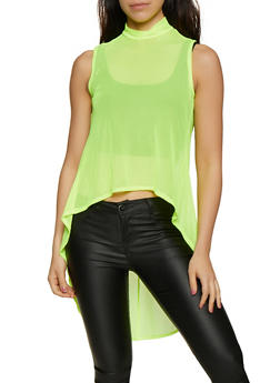 Sleeveless Mesh High Low Top - 3402072242980