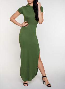 Soft Knit Cut Out Back Maxi Dress - 3402072247930