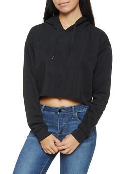 Raw Hem Hooded Sweatshirt - 3402072290123