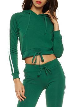 Fleece Lined Varsity Stripe Sweatshirt - 3402072290196