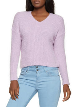 Twist Back Eyelash Knit Sweater - 3403015990011